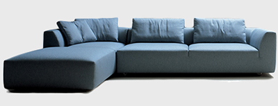 кутовий диван синій фото